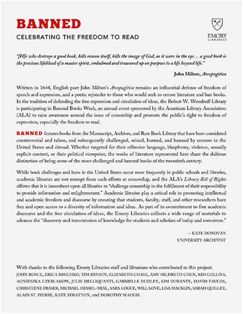 Book Banning Essay by Emory Libraries Banned Celebrating The Freedom To Read