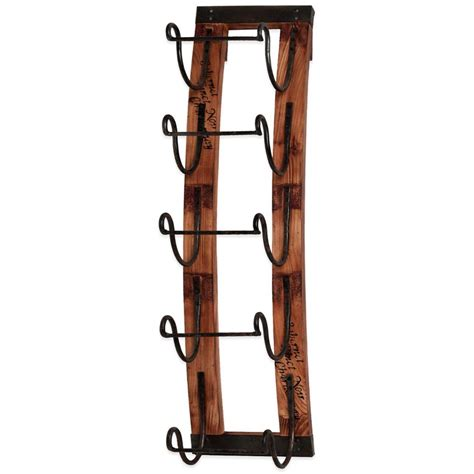 Metal Wine Racks For Wall by 5 Bottle Hanging Wine Rack Metal Wood Wall Mounted Decor