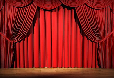 red drape red stage curtain with lights