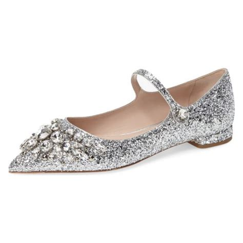Silver Flat Wedding Shoes by Silver Wedding Shoes Rhinestone Comfortable Flats Pointed