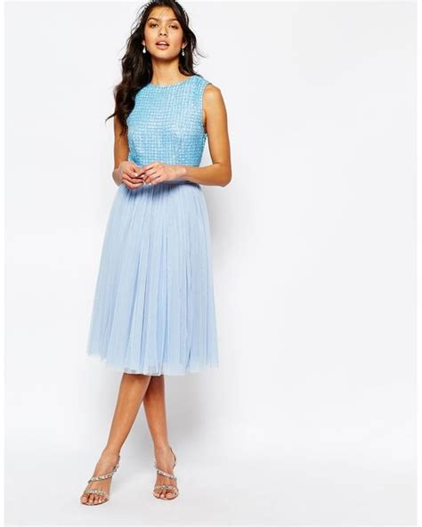 la perla embellished top midi dress with tulle skirt in