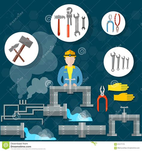 plumbing services concept dropping water from pipes