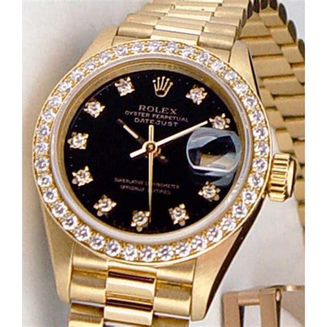 rolex watches black and gold diamondstud