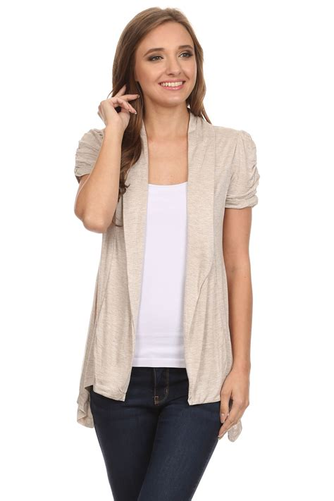 short sleeve drape front cardigan short sleeve cardigan for women open front draped flyaway