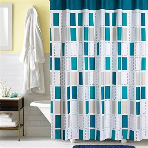 Turquoise White Curtains Turquoise Shower Curtain