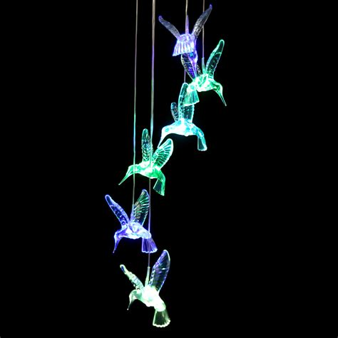 color changing light humming bird led solar mobile wind