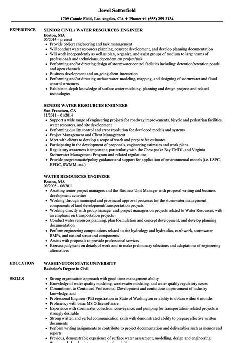 Water Resource Engineer Sle Resume by Water Resources Engineer Resume Sles Velvet