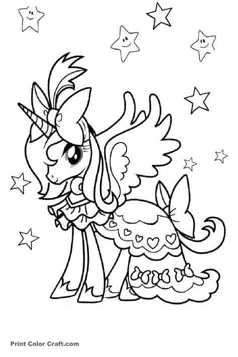 princess unicorn coloring pages print color craft