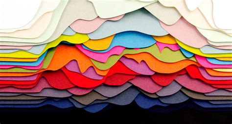 design using art paper colourful layered paper sculptures by french artist and