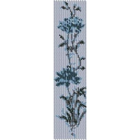 bead loom flower patterns icy blue flower loom beading pattern for cuff bracelet