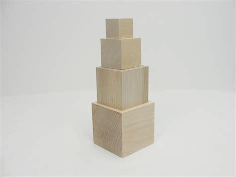 wooden cubes stacking blocks set of 4 blocks wood cube unfinished wood