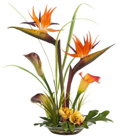 Decorative Floral Arrangements Home Bird Of Paradise And Calla Lily Silk Centerpiece