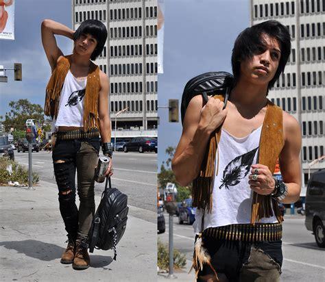 Nayla Ripped Jaket prince chris vintage fringe vest diy painted feather bullet belt diy two toned skinnies