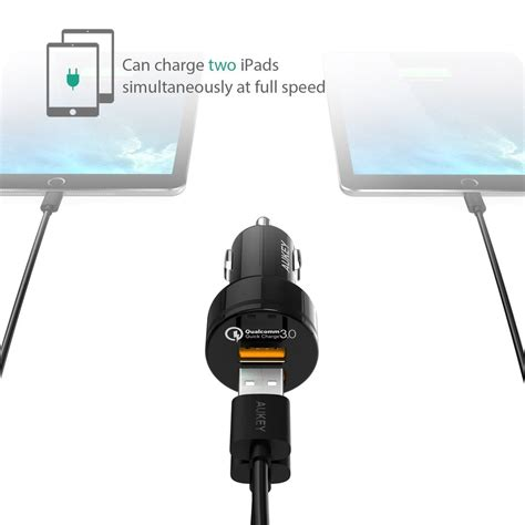 Aukey Charge 3 0 36w Dual Port Car Charger Cc T8 Qualcomm 1 aukey cc t8 36w 2 port usb car charger charge 3 0