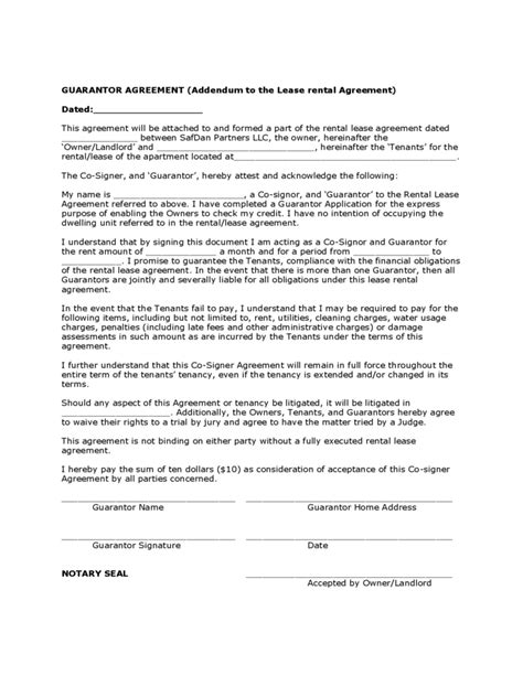 guarantee agreement template guarantor agreement sle form free