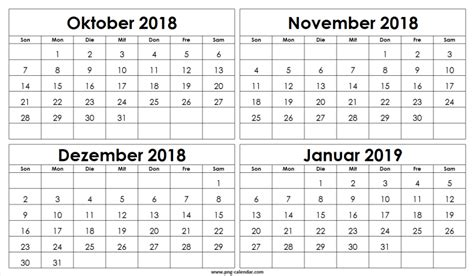oktober november dezember  januar  kalender
