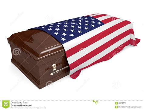 flag draped casket coffin covered with the national flag of the united states
