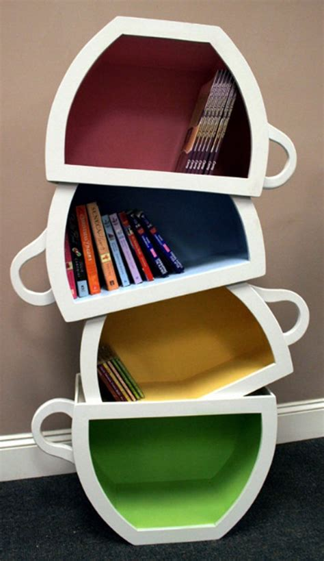 creative bookshelf design with stacked teacup home