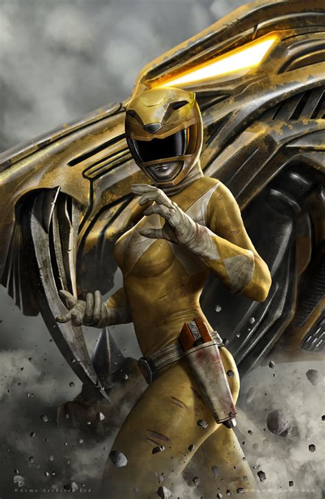 power rangers painting yellow ranger by carlosdattoliart on deviantart