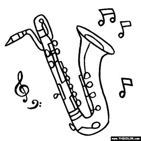 coloring pages jazz instruments baritone saxophone coloring page kids 2 pinterest