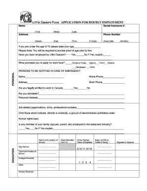 printable job application form for little caesars little caesars job application fillable forms free full