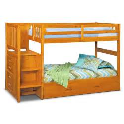 Bunk Bed With Trundle And Stairs Ranger Bunk Bed With Storage Stairs Trundle Pine Value City Furniture
