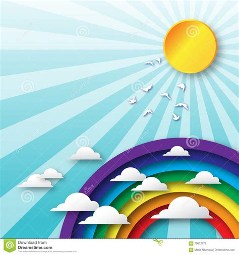 colorful sun origami clouds fly to sky and colorful rainbow sun and