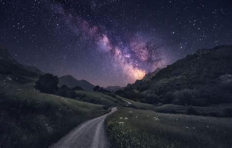 photography nature landscape milky  starry night