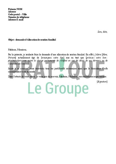 Modèle De Lettre Gratuite Pour Entreprise Lettre De Demande D Allocation De Soutien Familial Asf 224 La Caf Pratique Fr