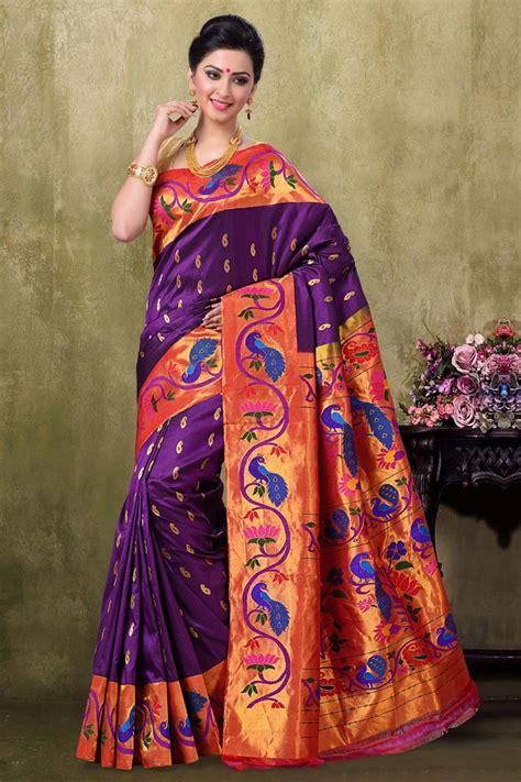 brinjal color paithani brinjal majanta color saree