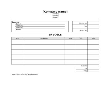 Business Invoice Template Free Printable Business Invoice Template