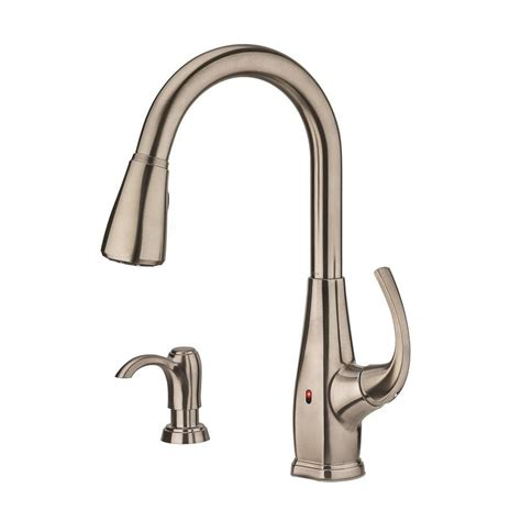 pfister kitchen faucet reviews shop pfister selia stainless steel 1 handle pull touchless kitchen faucet at lowes