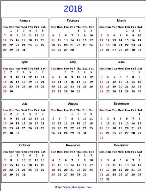2018 Calendar United States 2018 Calendar Printable Calendar 2018 Calendar In