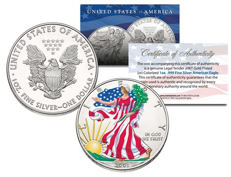 1 Oz Silver One Dollar 2001 by Glow In The Colorized 2001 American Silver Eagle
