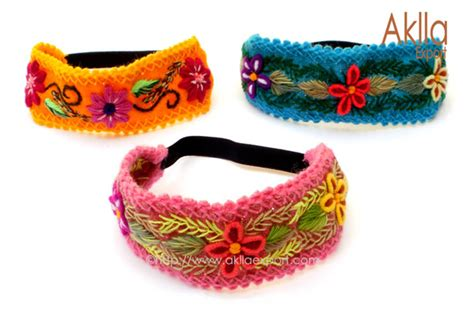 Handmade Hair Bands - handmade colorful embroidered elastic hair band with