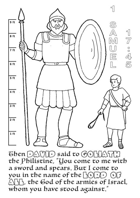 printable coloring pages of david goliath printable best