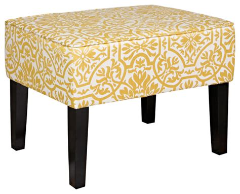 contemporary upholstered bench angelo home brighton hill modern damask golden yellow and