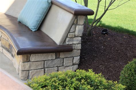 custom concrete benches custom concrete seating bench around gas firepit traditional patio cleveland