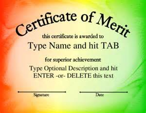 Certificate Of Merit Template by Merit Certificate Exle Archives Word Templates