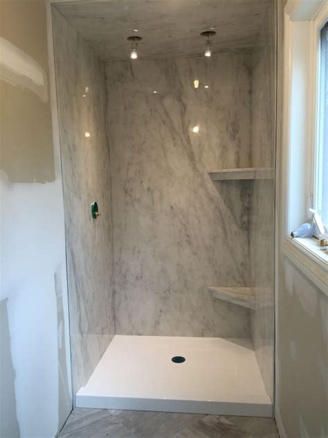 cultured marble bathroom a subtle grey marble ite shower paired with a bright white cultured marble base