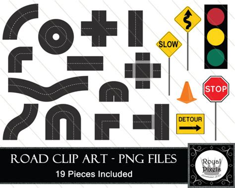 printable road pieces road pieces and road signs clip art 19 pieces included