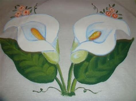 como hacer las flores de alcatras en una carpeta de gancho pintura en tela flor alcatraz con marimur 447 youtube