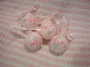 pink christmas tree ornaments hp roses shabby chic by