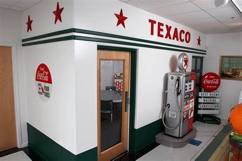 vintage garage house design and decor decorating with texaco memorabilia and signage