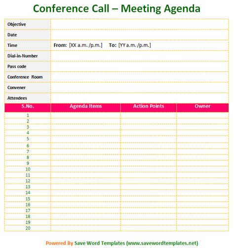 meeting agenda template save word templates