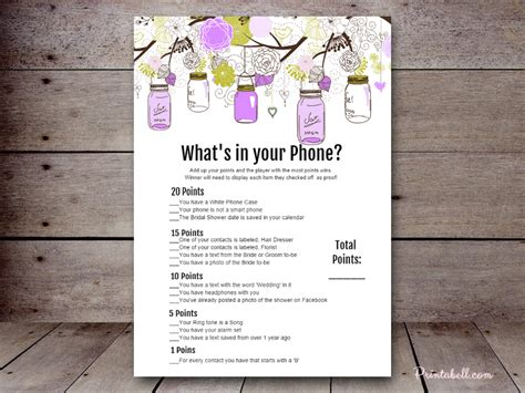 what s a template bridal what s in your phone printabell create