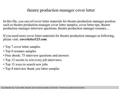 Production Manager Cover Letter Theatre Production Manager Cover Letter