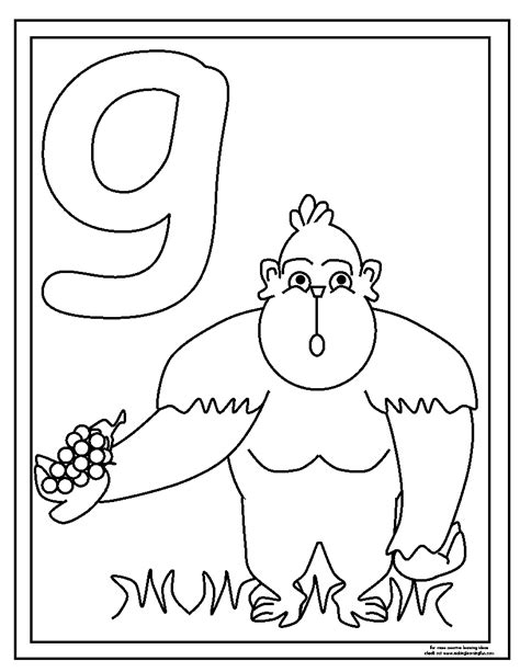 Lowercase G Coloring Page by Free Lower G Coloring Pages