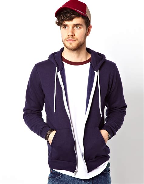 american apparel hoodie american apparel american apparel flex hoodie in blue for navy lyst