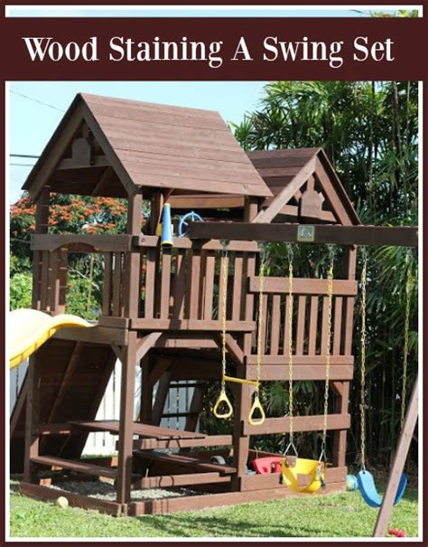rainbow swing set stain diy wood staining a kids swing set livin the mommy life